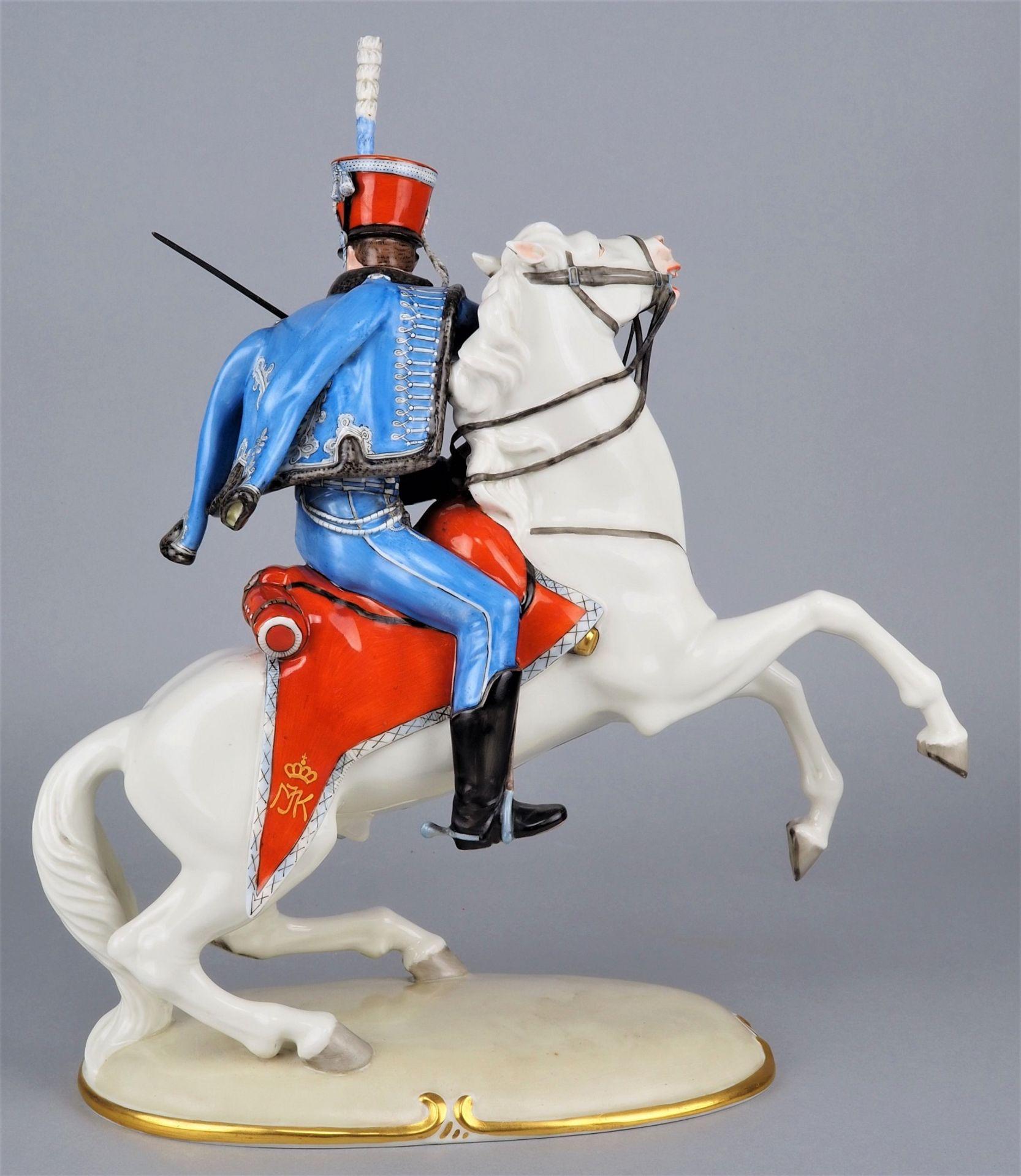 Nymphenburg Porcelain Manufactory: Officer of the 2nd Royal Bavarian Hussar Regiment on horseback. - Image 4 of 8