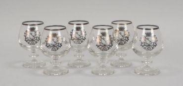 Satz Cognacschwenker, Klarglas, mit 'Bremer Wappen'/in Silberauflage, 6 Stück; H&ouml