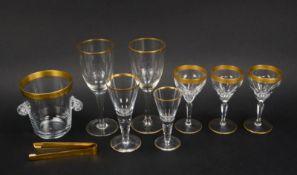 Glas-Konvolut, überwiegend mit Goldrand, 8 Teile: 7x Gläser in unterschiedlichen Ausf&uuml