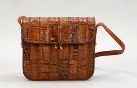 Damenhandtasche, braunes Krokoleder; Höhe 19 cm, Breite 21 cm, Tiefe 6 cm (mit Cites-Bescheinig