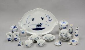 Meissen (Knaufzeit, 2-gestrichen), Rest-Teeservice, blaue Chinoiserie-Unterglasurmalerei, umfassend: