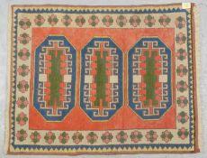 Konya-Orientteppich (Anatolien), komplett, gleichmäßiger Flor; Maße 111 x 91 cm