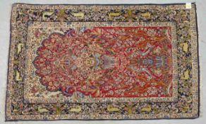 Isfahan, Wolle auf Seide/im Flor mit Seidenanteilen, sehr feine Knüpfung, mit Paradiesmotiv, Fl