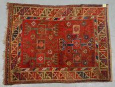 Antiker Orientteppich (Türkei - wohl Konya-Gebiet, um 1900), Pflanzenfarben,