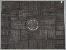 Lederteppich (Afrika), genäht, Patchwork in verschiedenen Farben/Musterungen; Maße 201 x