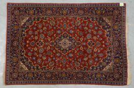 Keshan, Korkwolle, Flor in insgesamt gutem Zustand; Maßea 160 x 110 cm (Ränder stellenwei