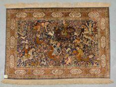 Kaschmir-Seidenteppich, feine Knüpfung, in der Bordüre Kartuschen mit persischen Versen,