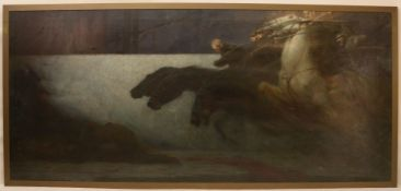 Arnold (Berliner Maler), ueberdimensionales Gemaelde, -Berittener Sturm auf die Festung-, Oel/Lw, si