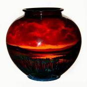 Royal Doulton Sung Flambe Exhibition Vase, Landscape