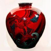 Royal Doulton Sung Flambe Exhibition Vase, American Eagle Hunting