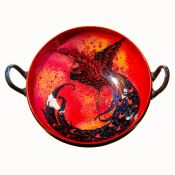 Royal Doulton Sung Flambe Two Handle Tazza with Bird Painted in Gold to Center.