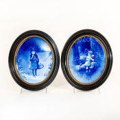 2 Framed Royal Doulton Series Ware Blue Children Plaques