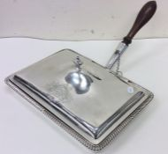 A rare Georgian silver hinged top cheese dish with