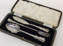 A good cased silver three piece preserve set with