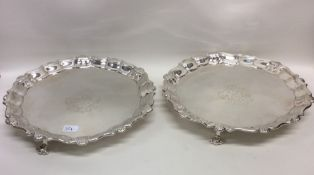 A good pair of George II silver waiters with crest