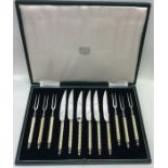 A good set of six ivory mounted steak knives and f