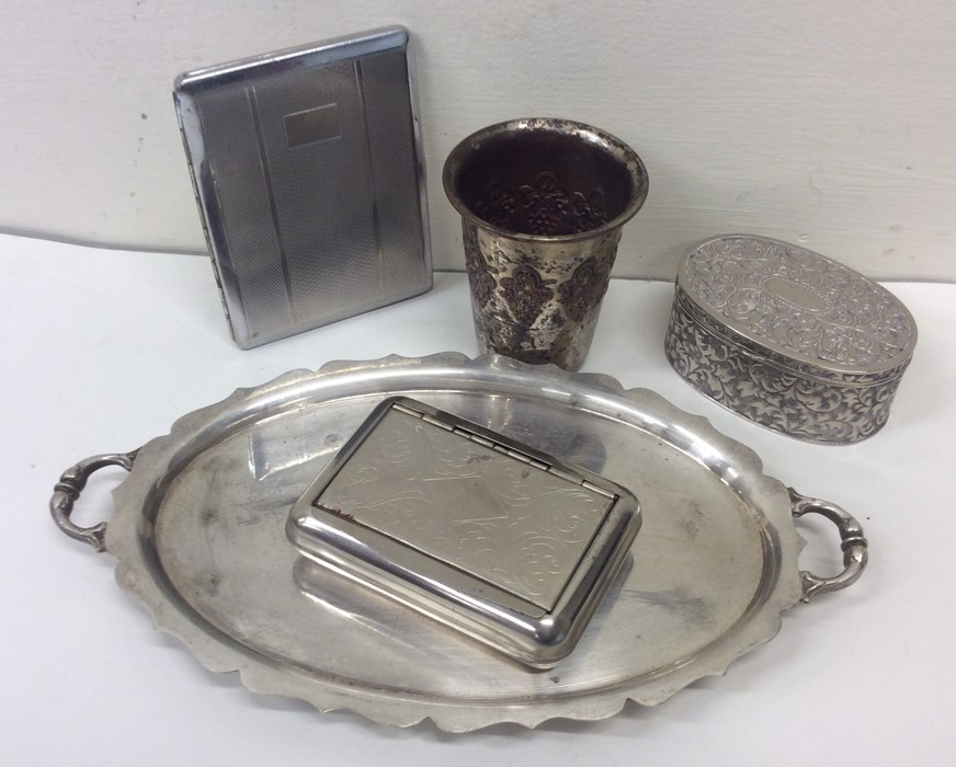 A bag containing silver plated goblet, tray etc. E