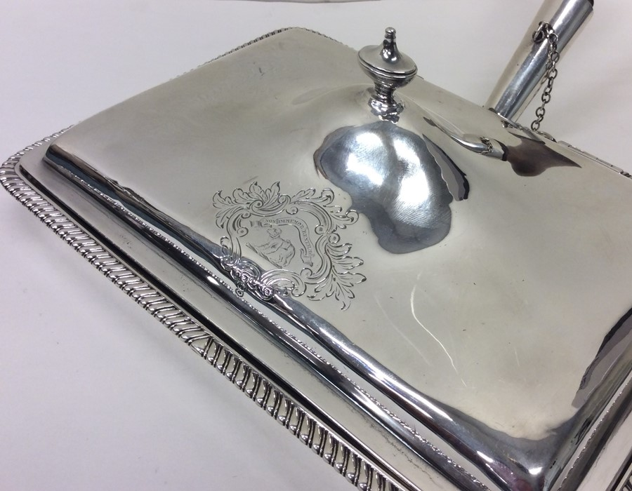 A rare Georgian silver hinged top cheese dish with - Image 2 of 2