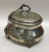 A heavy Continental silver tea caddy. Approx. 626