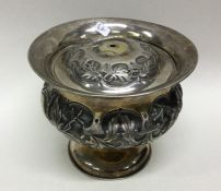 RUSSIAN: A heavy chased silver bowl and cover deco