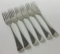 A heavy set of six OE pattern silver dessert forks