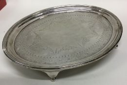 EDINBURGH: A good oval silver salver with engraved