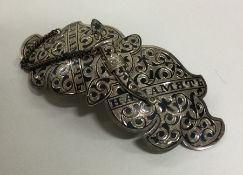 A Russian silver and Niello buckle. Marked to reve