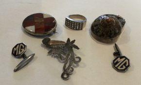 A bag containing silver cufflinks, pendants etc. A