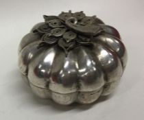 An Asian silver box with filigree decoration. Appr