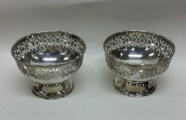 A pair of attractive Edwardian silver pierced dish