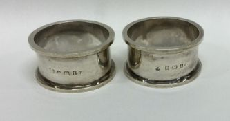 A good pair of heavy silver napkin rings. Birmingh