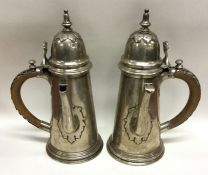 A good pair of Edwardian tapering silver café au l