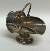 A miniature silver model of a coal scuttle with sw