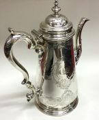 A finely chased George II silver tapering coffee p