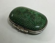 A Victorian silver and shagreen vesta case with fi