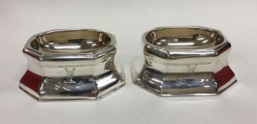 A good pair of crested silver trencher salts. Lond