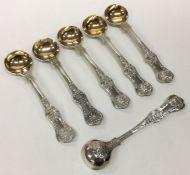 A good set of six Kings' pattern silver salt spoon