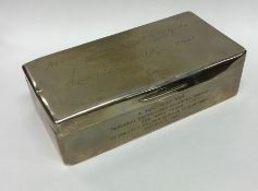 A rectangular silver hinged top cigarette box. Bir