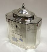 A Georgian silver bright cut tea caddy with hinged