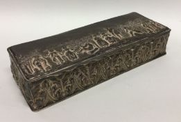 A good rectangular silver box decorated with figur