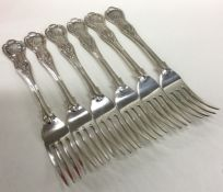 A heavy matched set of six Kings' pattern silver t