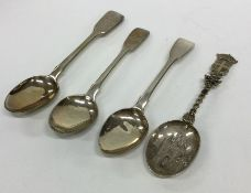 A collection of silver fiddle pattern teaspoons. A