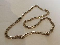 A 9 carat curb link necklace. Approx. 7 grams. Est