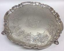 A good Georgian circular silver salver with creste