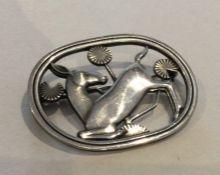 GEORG JENSEN: A stylish oval Danish silver brooch