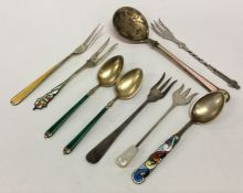 A collection of Continental silver and enamelled c