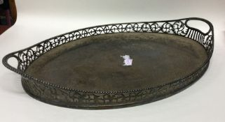 A good quality Victorian silver oval tray attracti