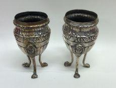 A pair of unusual Italian silver half fluted vases