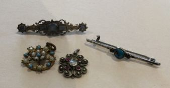 A Scottish silver brooch together with a pendant e