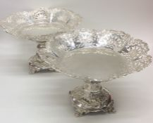 A fine pair of pierced silver centrepieces attract